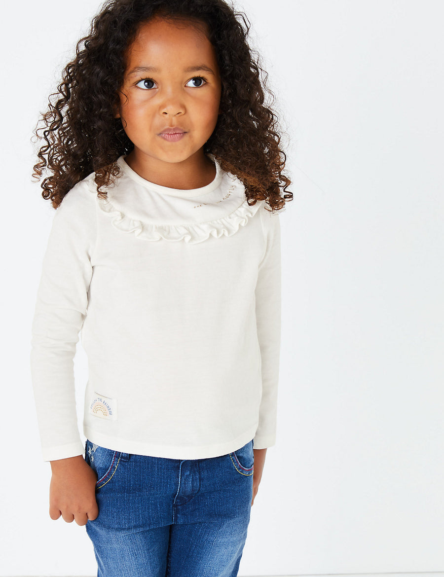 3 Pack Pure Cotton Ruffled Tops