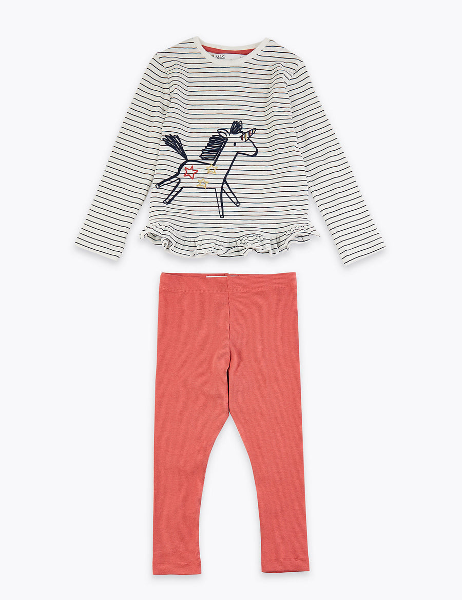 Striped Unicorn Print Top & Bottom Outfit
