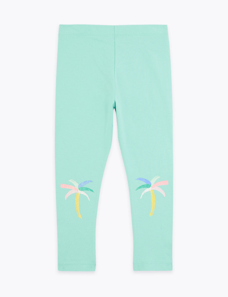 Cotton Palm Tree Print Leggings