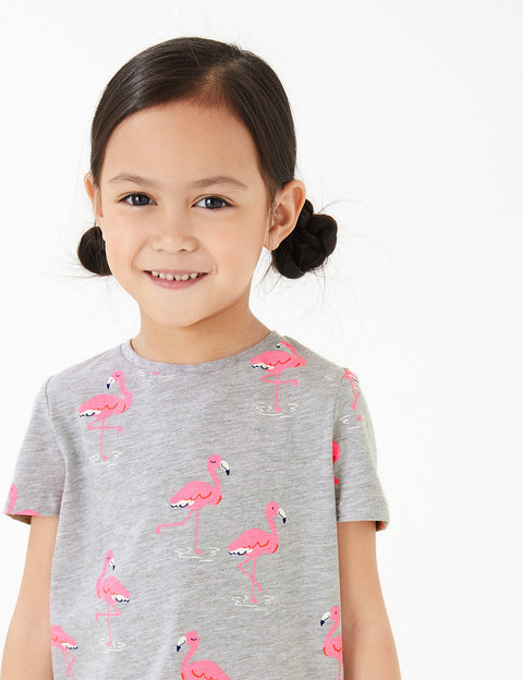 Cotton Flamingo Print T-Shirt