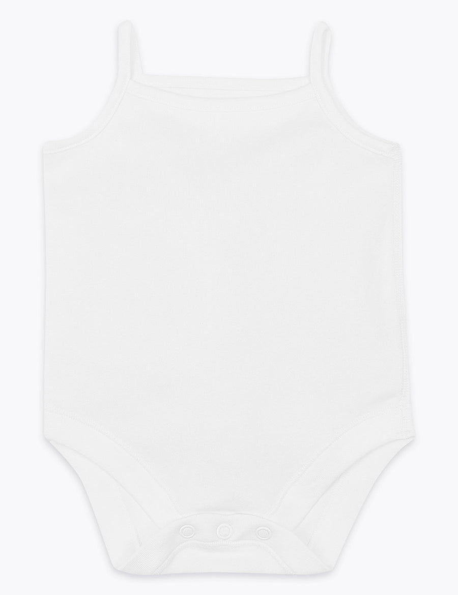 5 Pack Organic Pure Cotton Strappy Bodysuits