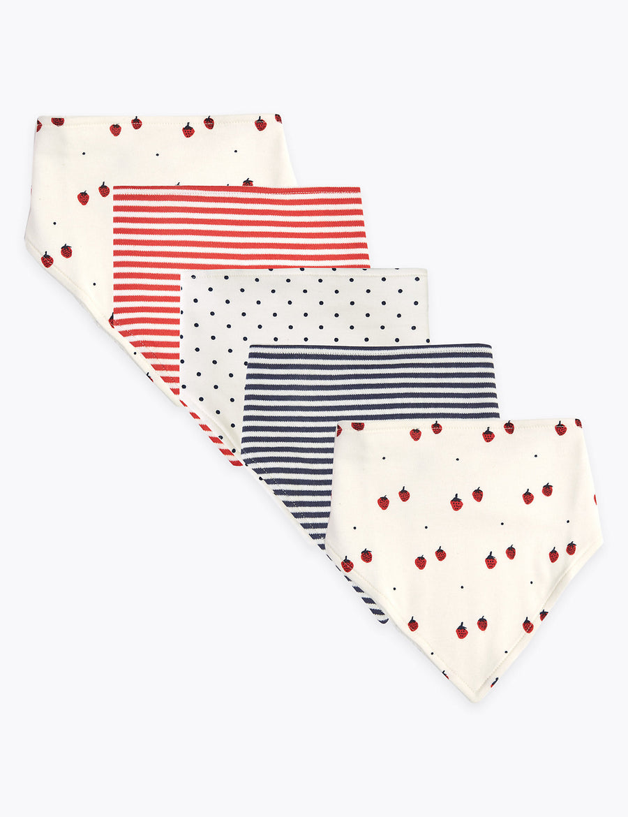 5 Pack Nautical Fruit AOP Bibs