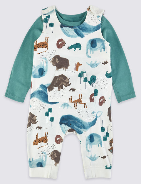 Two Piece Animal Dungarees Outfit