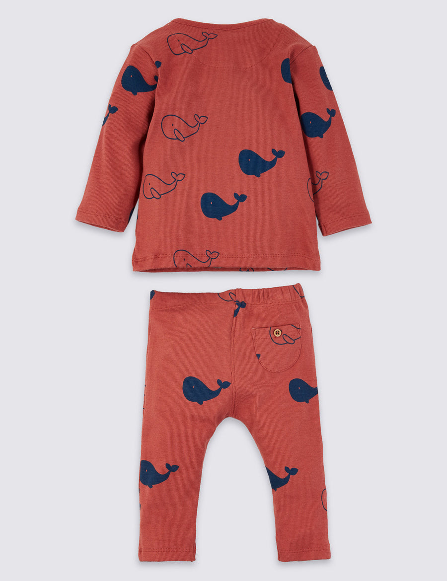 2 Piece Jersey Whale Print Outfit