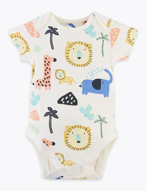 5 Pack Organic Cotton Safari Bodysuits