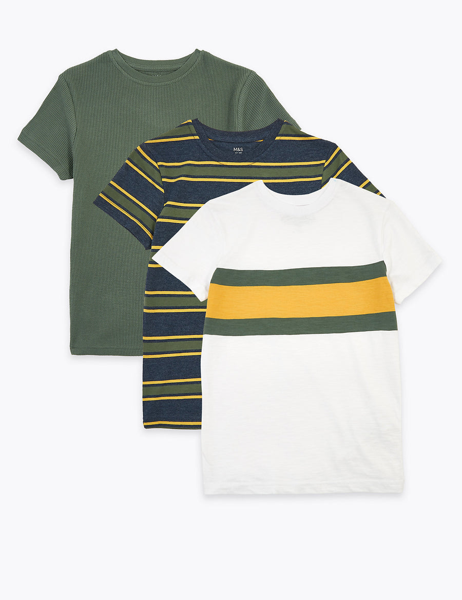 3 Pack Cotton Rich Striped T-Shirts