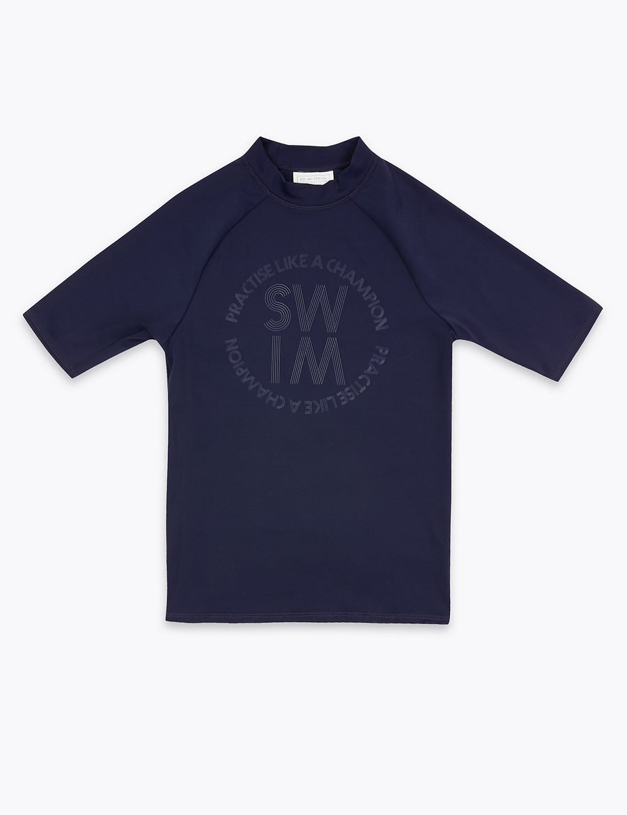 Swim Slogan Rash Vest