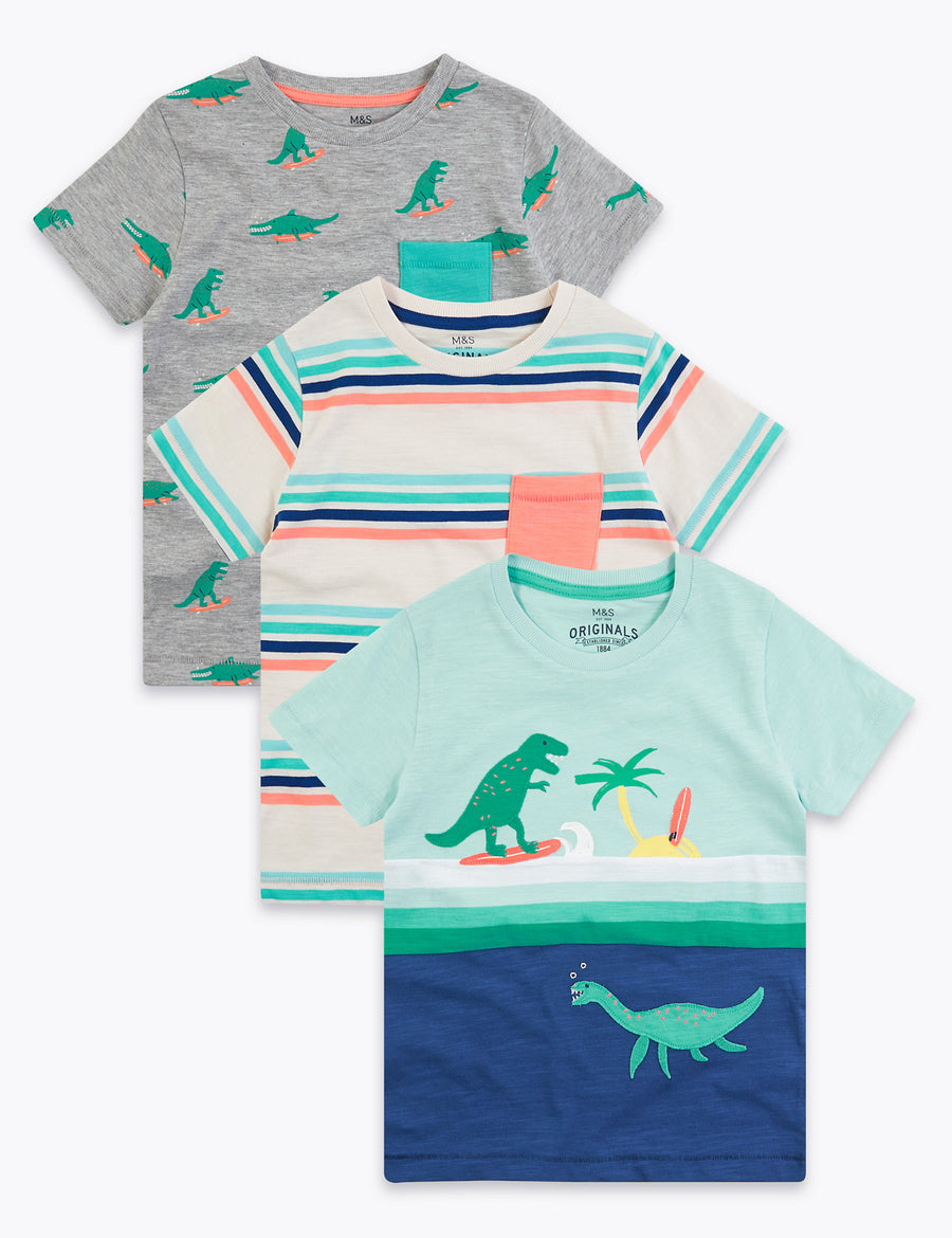 3 Pack Cotton Dinosaur T-Shirts