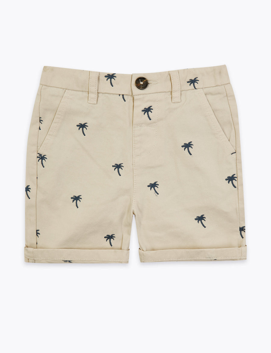 Cotton Palm Tree Chino Shorts
