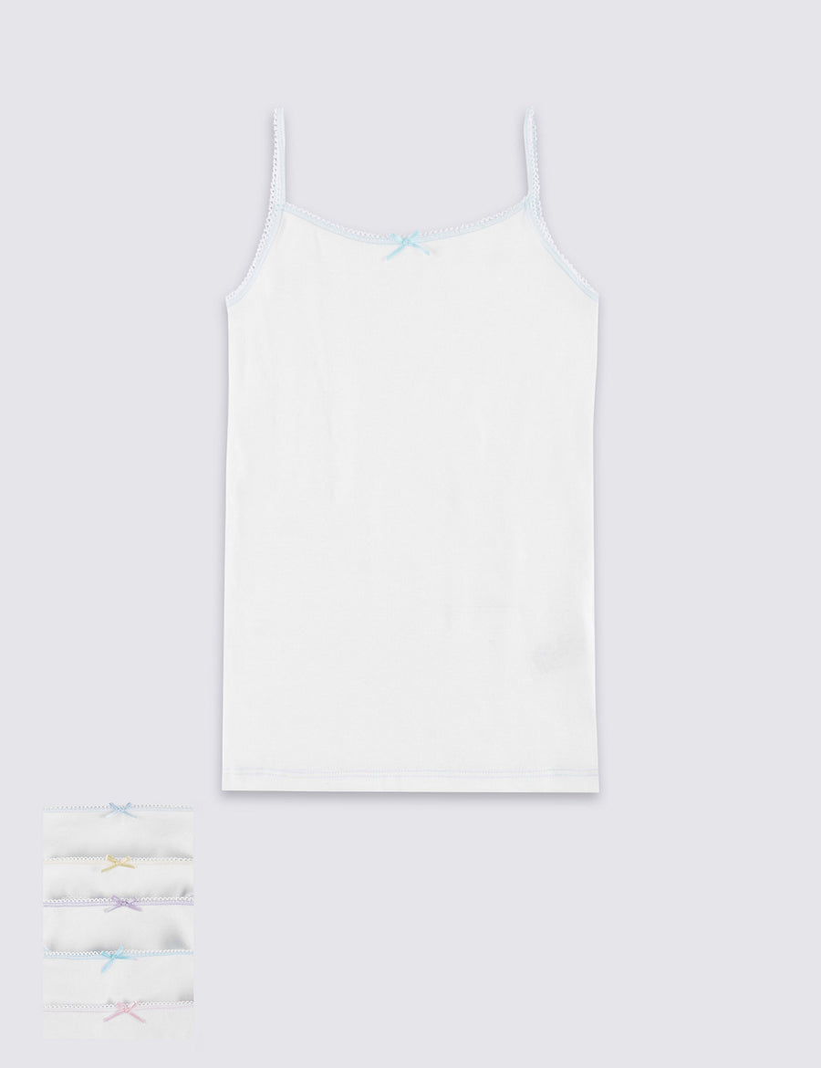 5 Pack Pure Cotton Camisole Vests