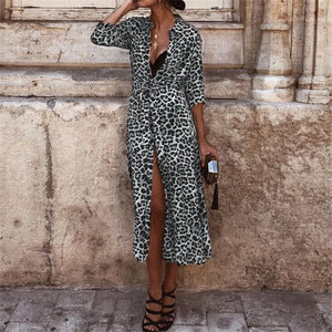 Leopard Slit Dress