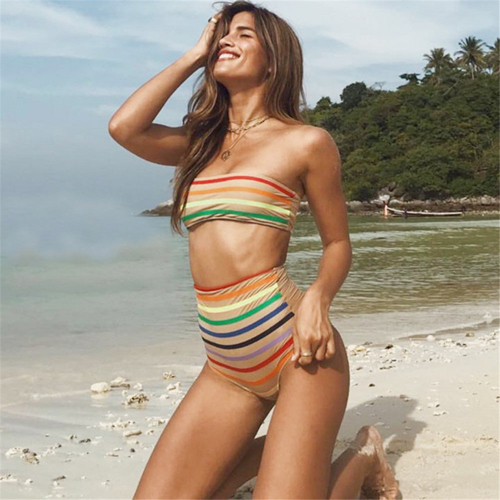 Rainbow Stripe Print Push-Up Padded Bikini