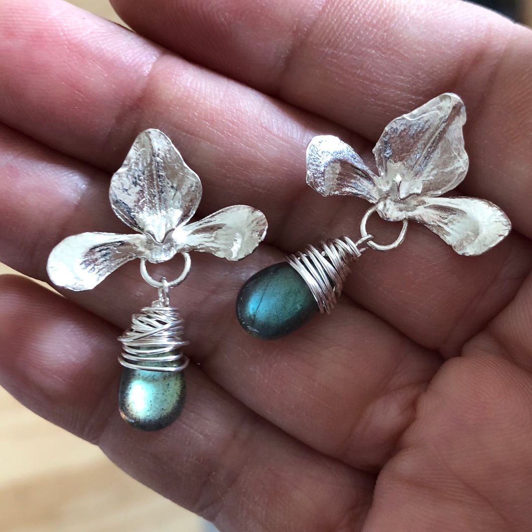 Flower Blossom Gemstone Drop Post Earrings