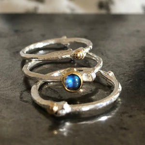 Moonstone Twig Ring Stacker Set  - Silver & Gold