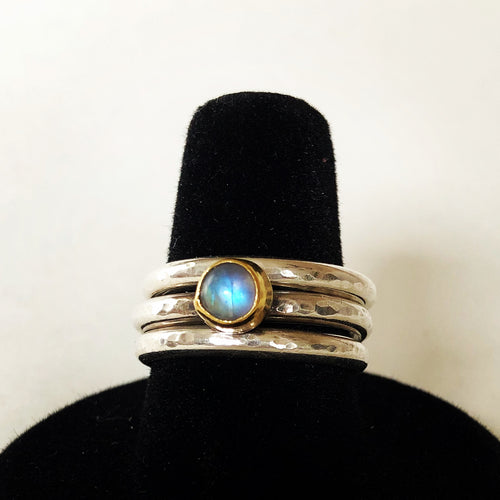Moonstone Hammered Ring Set ~ Silver & Gold