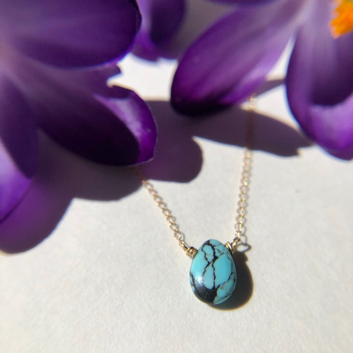 Turquoise & Gold Drop Necklace