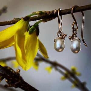Freshwater Pearl & Gold Drops