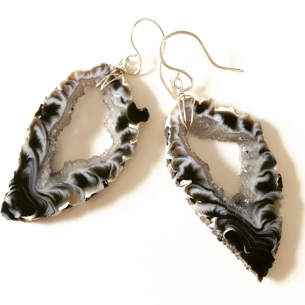 Agate Slice Earrings - Large Black