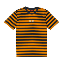 Load image into Gallery viewer, Fuck Stripes Embroidered Tee Navy/Yellow/Silver