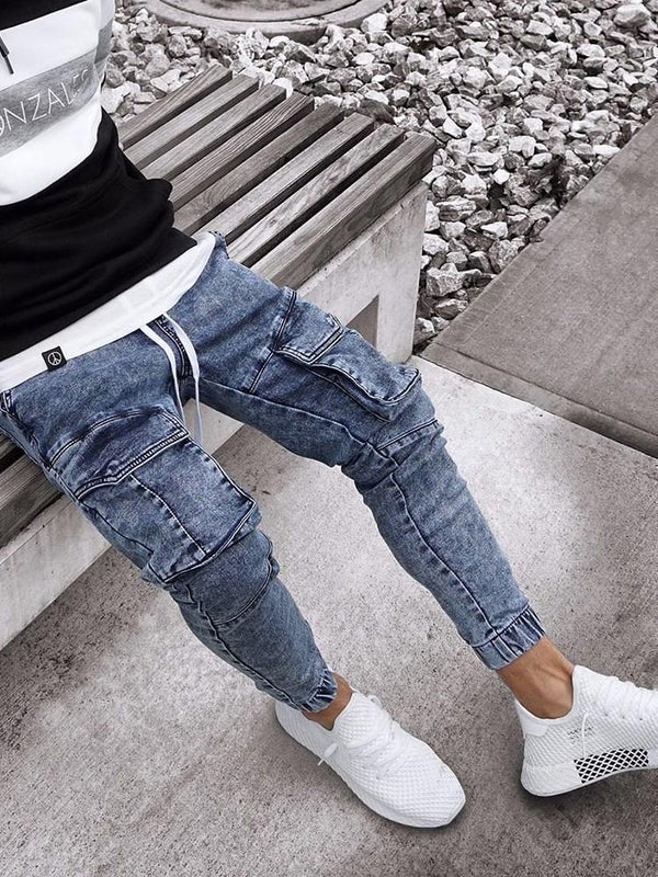 Embroidery Pencil Pants Lace-Up Casual Jeans