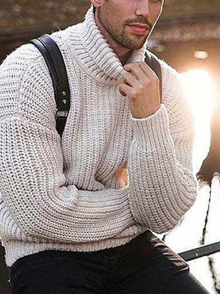 Plain Turtleneck Mid-Length Casual Winter Sweater