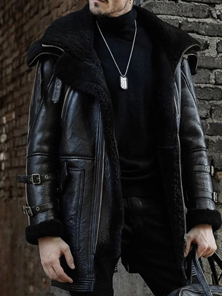 Lapel Patchwork Thick Straight Winter Jacket