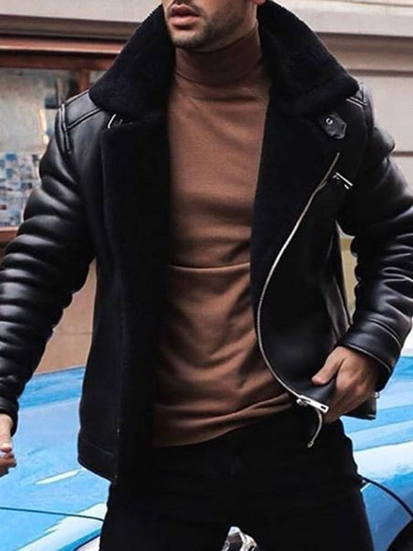 Plain Lapel Standard Slim Winter Leather Jacket