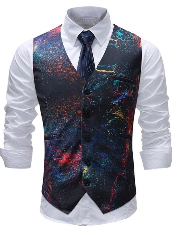 Paint Splatters V-Neck Floral Single-Breasted Fall Waistcoat