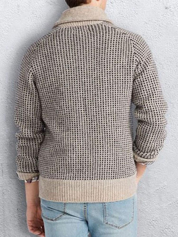 Standard Plaid Pocket European Loose Sweater