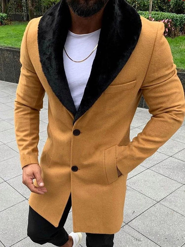 Mid-Length Color Block Button Slim Single-Breasted Coat