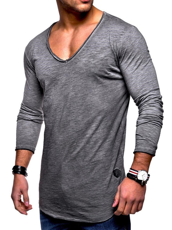 Plain V-Neck Long Sleeve Slim T-shirt