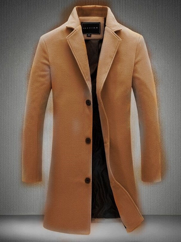 Mid-Length Plain Notched Lapel Slim Single-Breasted Trench Coat
