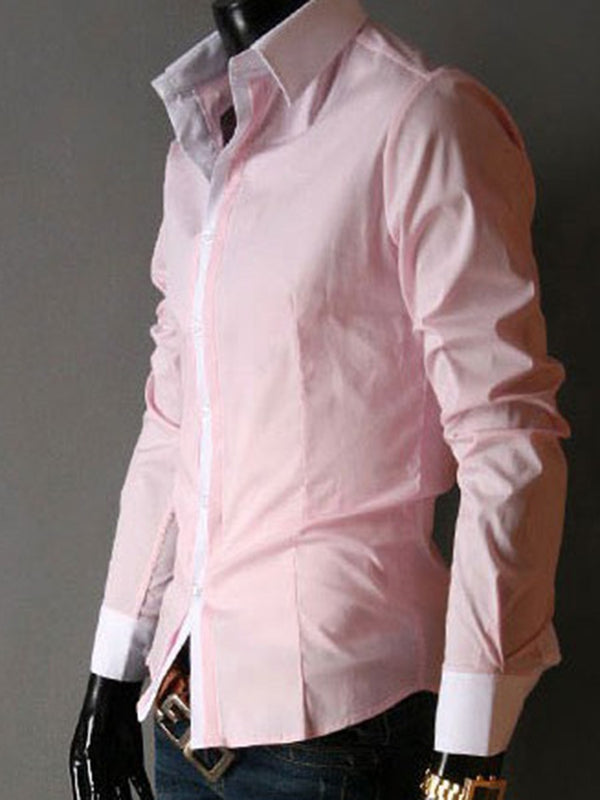 Lapel Color Block Button Slim Fall Shirt