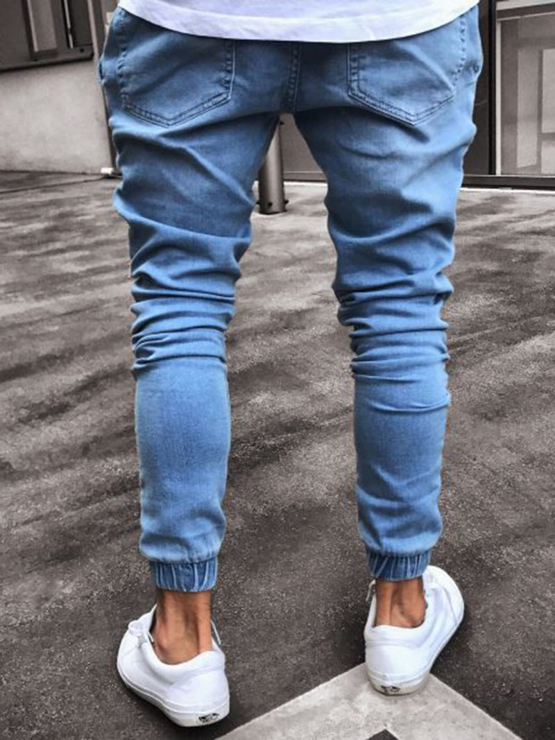 Pencil Pants Hole High Waist Zipper Jeans