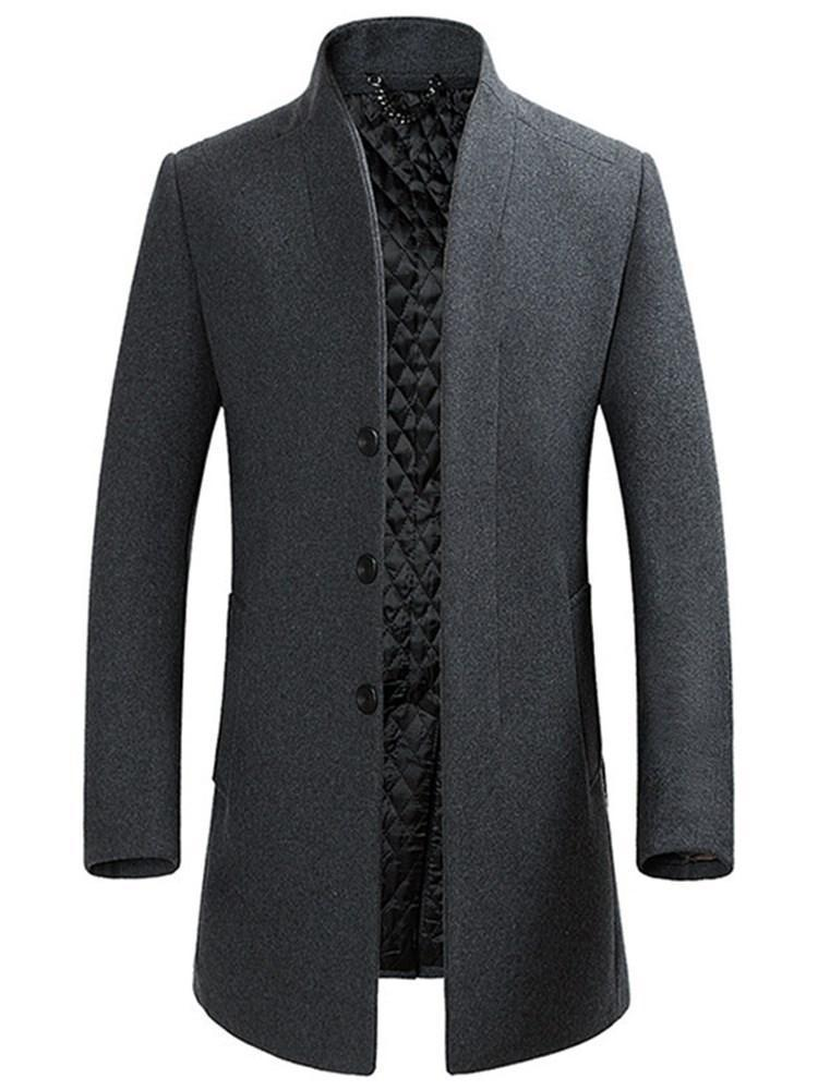 Plain Mid-Length Stand Collar Single-Breasted Winter Coat