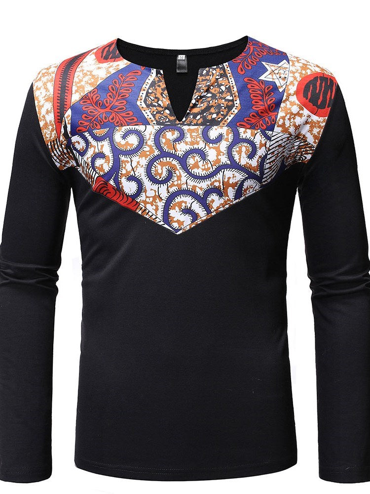 African Ethnic Style Floral Round Neck Long Sleeve Straight T-shirt