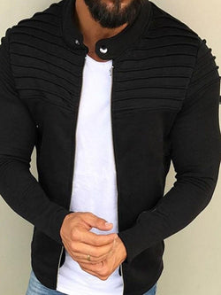 Pleated Cardigan Plain Zipper Slim Hoodies