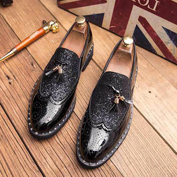 Low-Cut Upper Patchwork Round Toe Leather Shoes