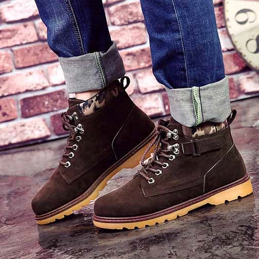 Plain Flat With Round Toe Lace-Up Front PU Boots