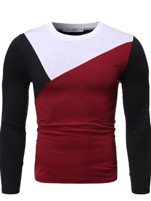 Round Neck Korean Color Block Slim Long Sleeve T-shirt