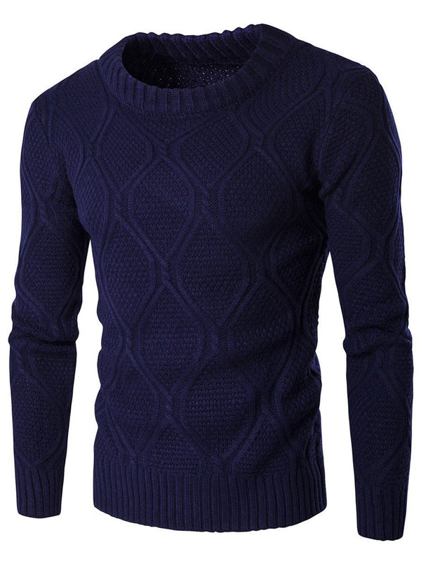 Round Neck Standard Plain Winter Slim Sweater