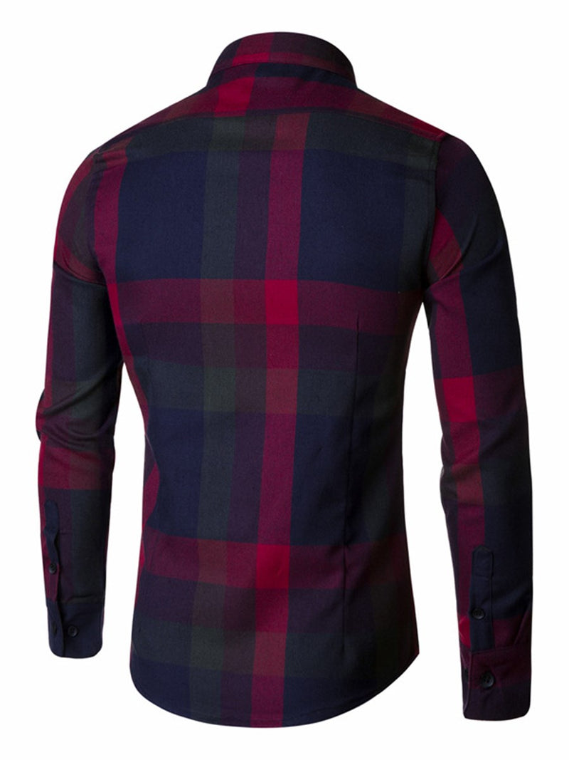 Lapel Plaid Fall Slim Shirt