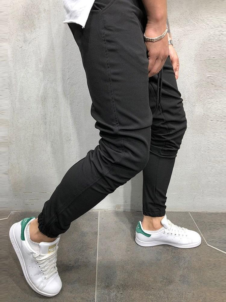 Plain Pencil Pants Lace-Up Casual Casual Pants