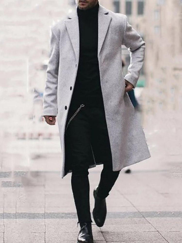 Long Plain Button Straight Fashion Coat