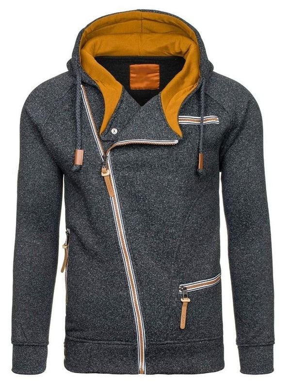 Cardigan Plain Patchwork Zipper Fall Hoodies