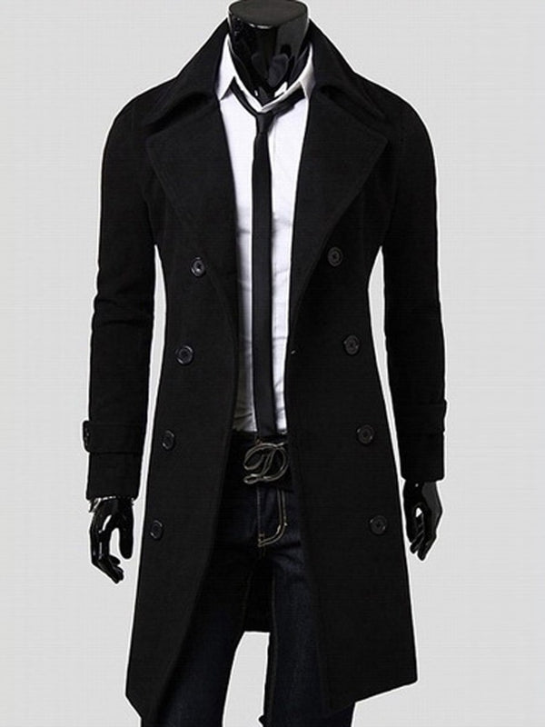 Mid-Length Plain Notched Lapel Slim Double-Breasted Coat