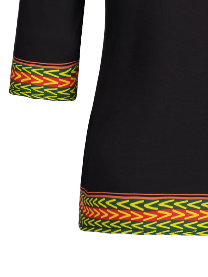 African Ethnic Style Print Round Neck Fall Slim Shirt