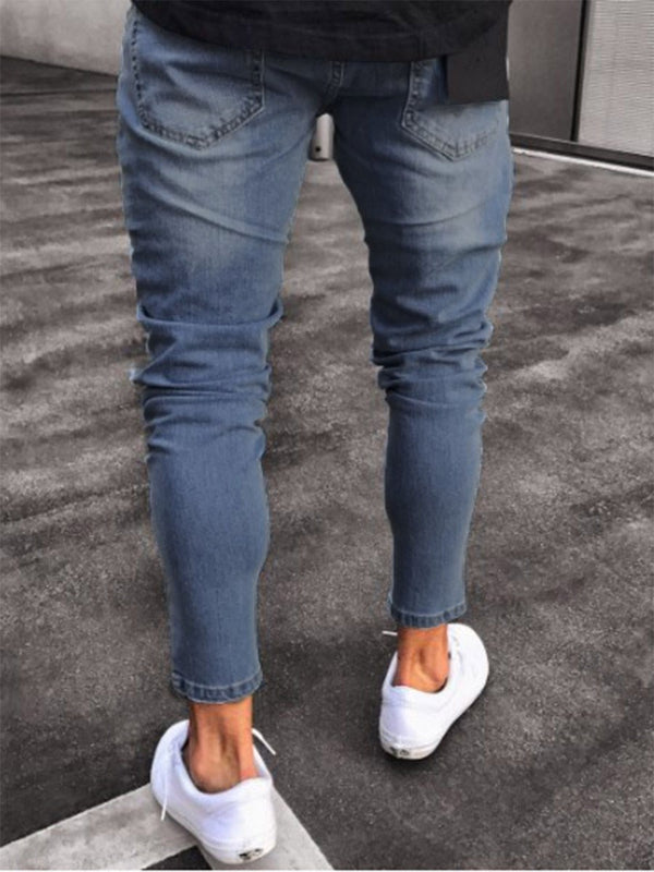 Plain Hole Pencil Pants Zipper Jeans