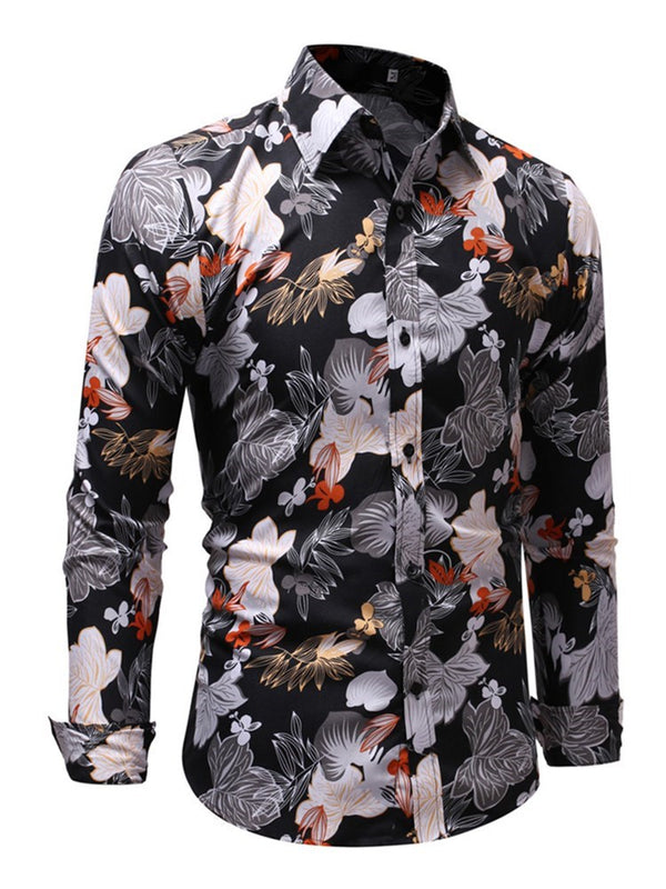 Casual Print Lapel Single-Breasted Slim Shirt