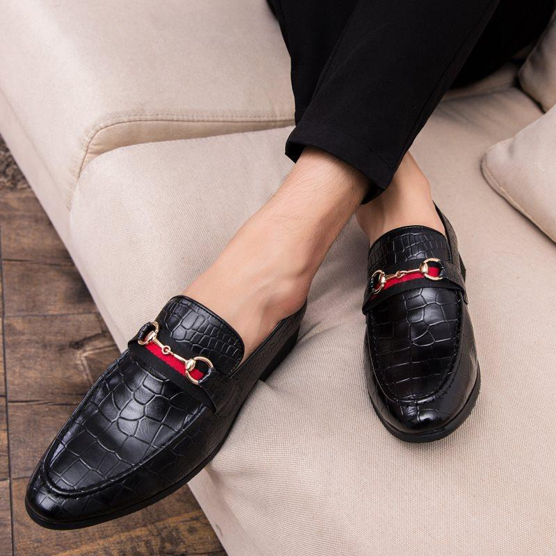 Low-Cut Upper PU Round Toe Leather Shoes